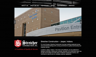 Streicher Construction Website Screenshot